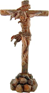 Religious Gifts Jesus on Cross the Passion 9 3/4 Inch Woodtone Crucifix Christian Statue Home Decoration
