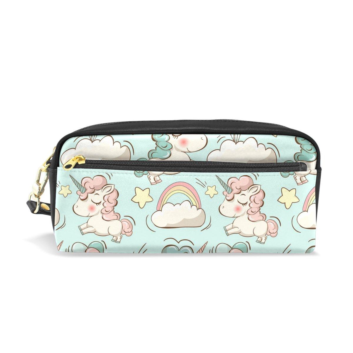 COOSUN Cosmetic Bag PU Leather Portable unicorni e nubi modello Pencil Case Penna della scuola Sacchetti stazionari della cassa del sacchetto di alta capacità trucco Grande Multicolore
