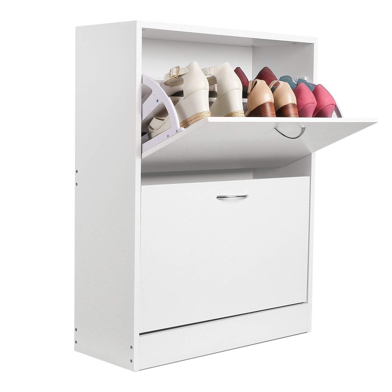 Homfa 2 Tier Shoe Cabinet Wooden Shoe Storage Cupboard Organizer Unit with 2 Drawer White 63 * 24 * 80cm HF