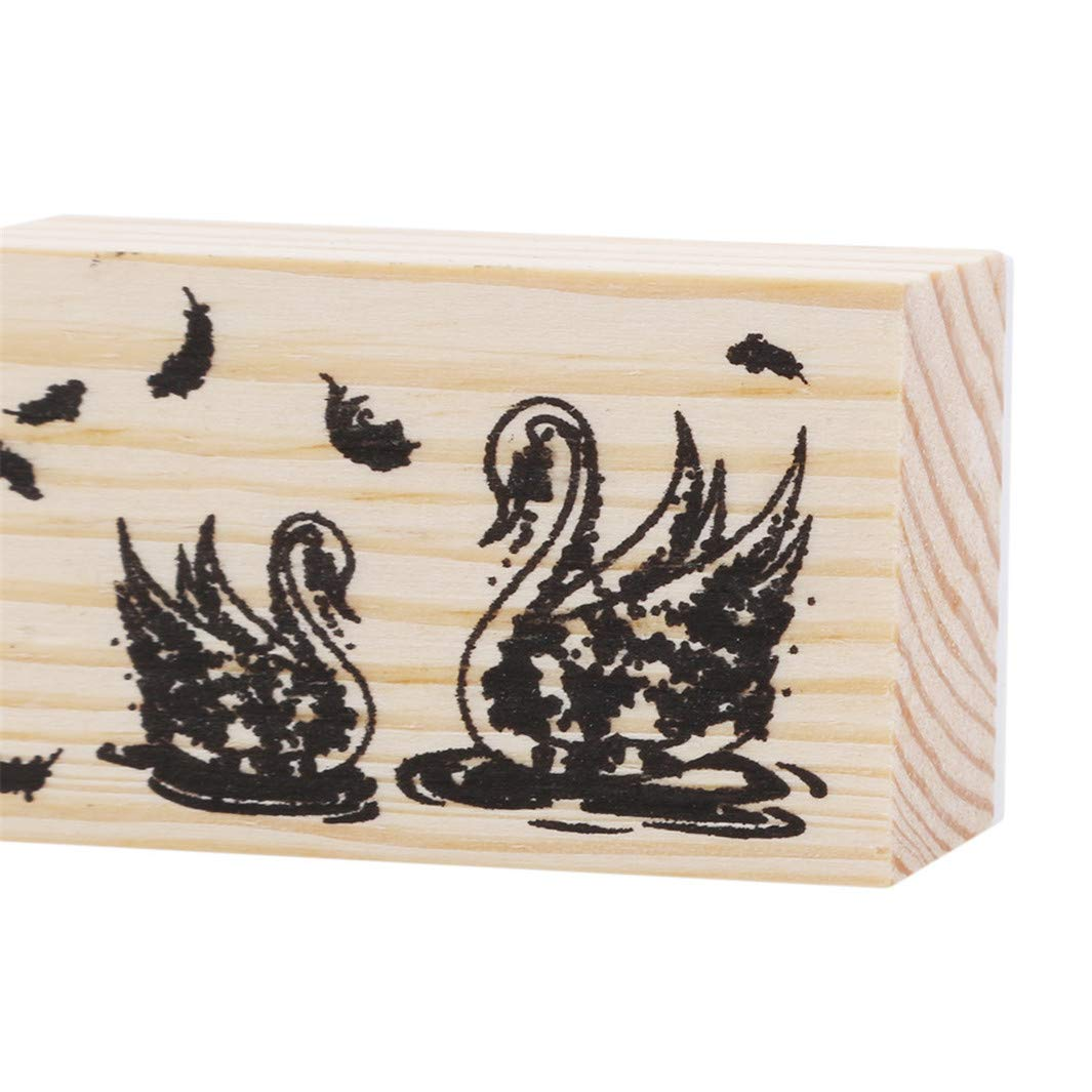 YouCY Craft Wooden Rubber Stamp Toy Scrapbooking Stationery, DIY Craft, Cute Forest Theme DIY Craft Albums Diary Decoration Retro rune Wood Stamp Scrapbook,Swan by YouCY (Image #3)