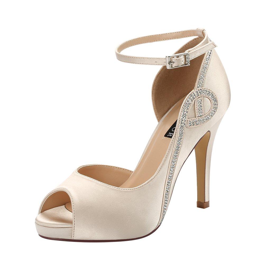 ERIJUNOR E8816 Women Peep Toe Side Open Rhinestones Comfortable Platform Satin Bridal Wedding Party Shoes Champagne Size 5