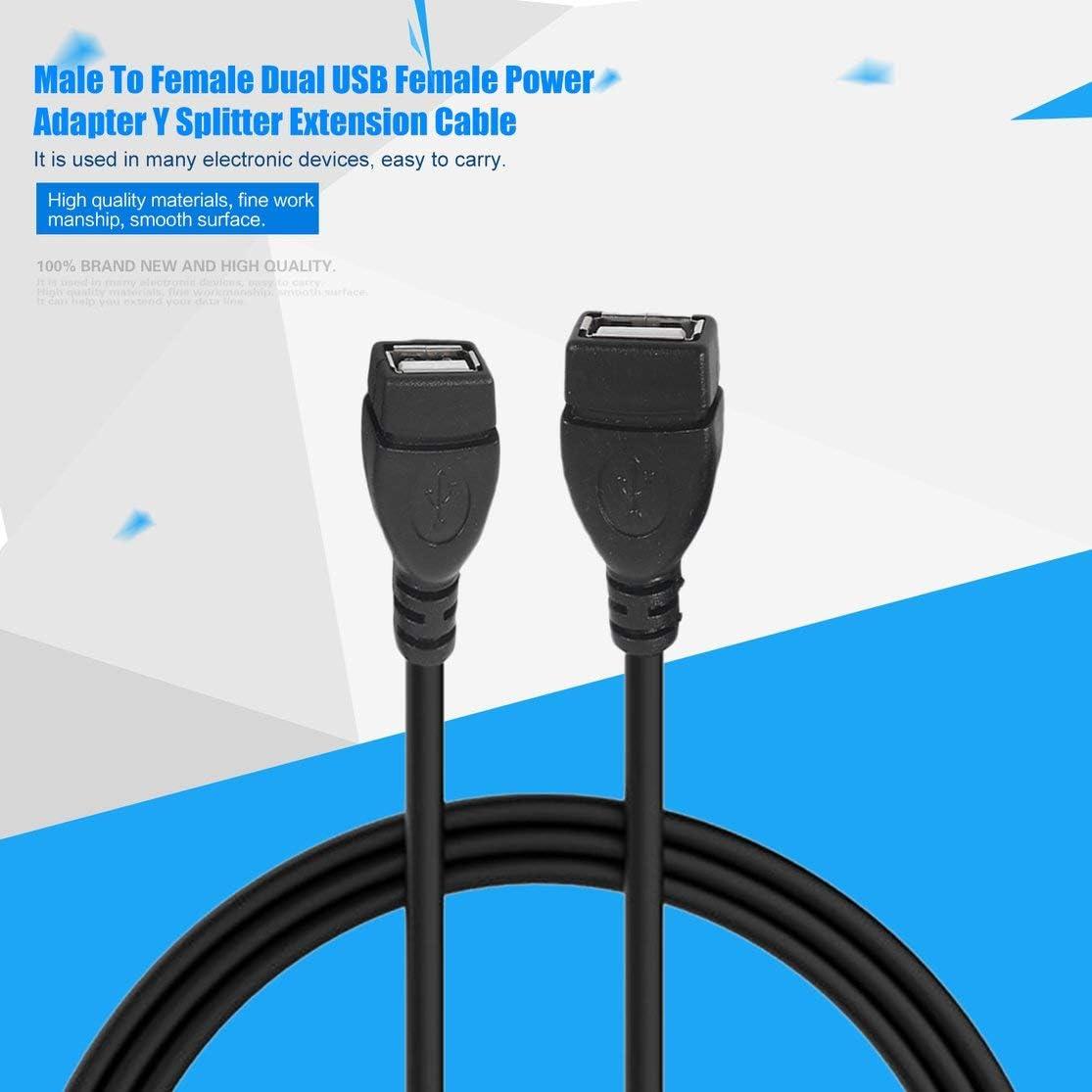 LouiseEvel215 USB 2.0 Un m/âle vers USB Femelle 2 Double Double USB Adaptateur Secteur Femelle Y Splitter Extension Cable Extension Cable