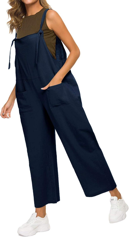 Mintlimit tuta da donna senza maniche estiva pantaloni larghi con salopette pantaloni in denim
