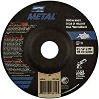 "Norton Metal Depressed Center Abrasive Wheel, Type 27, Aluminum Oxide, 7/8"" Arbor, 5"" Diameter x 1/4"" Thickness (Pack of 25)"