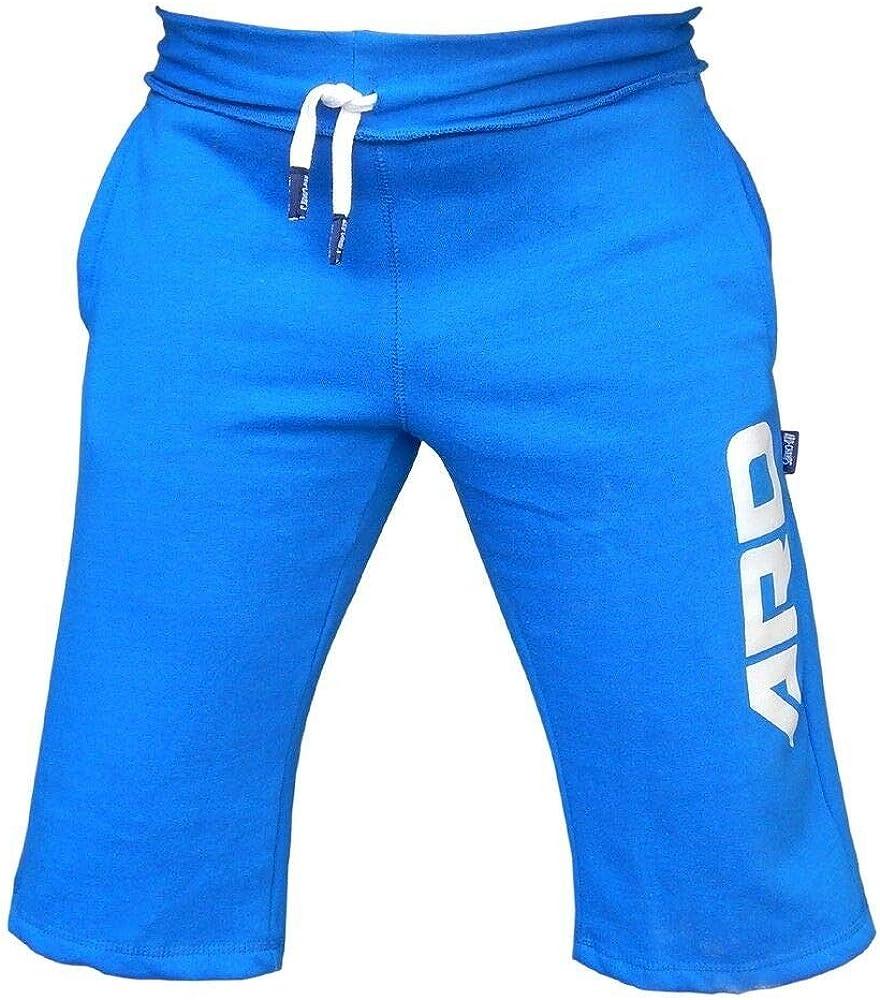 4fit Mens Cotton Fleece Shorts Jogging Casual Home Wear Martial Art Jogger Blue