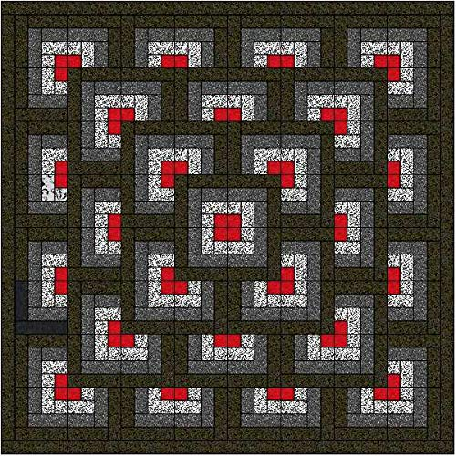 Easy Quilt Kit Boxed Maze!! Red, Black, White/with Backing and Binding by Material Maven