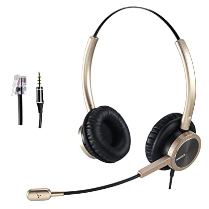 Phone Headset RJ9 Call Center Headset with Noise Cancelling Mic with Extra  3 5mm Connetor for Mobiles Compatible with Avaya Nortel Aastra Toshiba