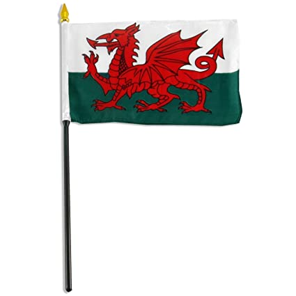 "Wales Dragon Country 4/""x6/"" Flag Desk Set Table Stick Gold Base"