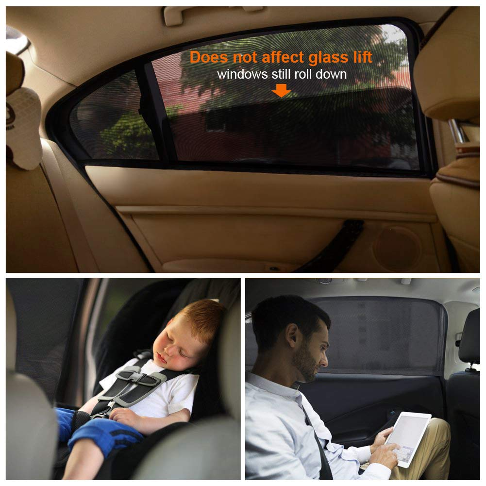 Premium Quality Car Sun Shades Covers Rear Side Windows Universal Easy Fit 2 Pack Protects Baby Kids and Pets Blocks UV Rays Car Window Shades