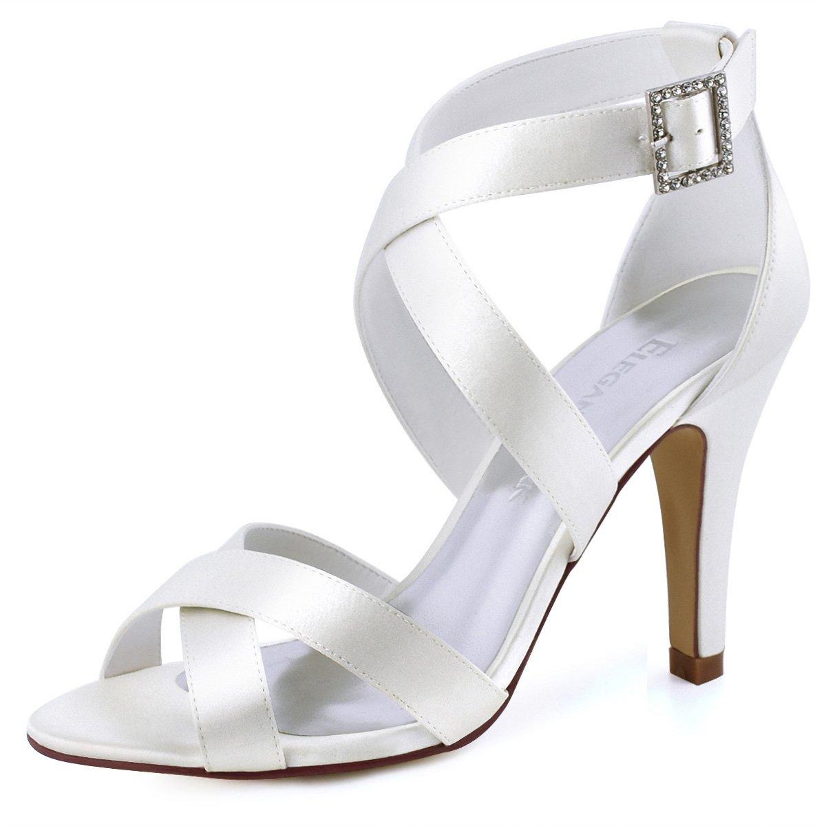 Elegantpark Stiletto HP1705 à Femmes Peep Toe Sandales à Lanières de à Talons Hauts Stiletto Boucle Satin Chaussures de Mariée de Mariage Ivoire 193f362 - boatplans.space