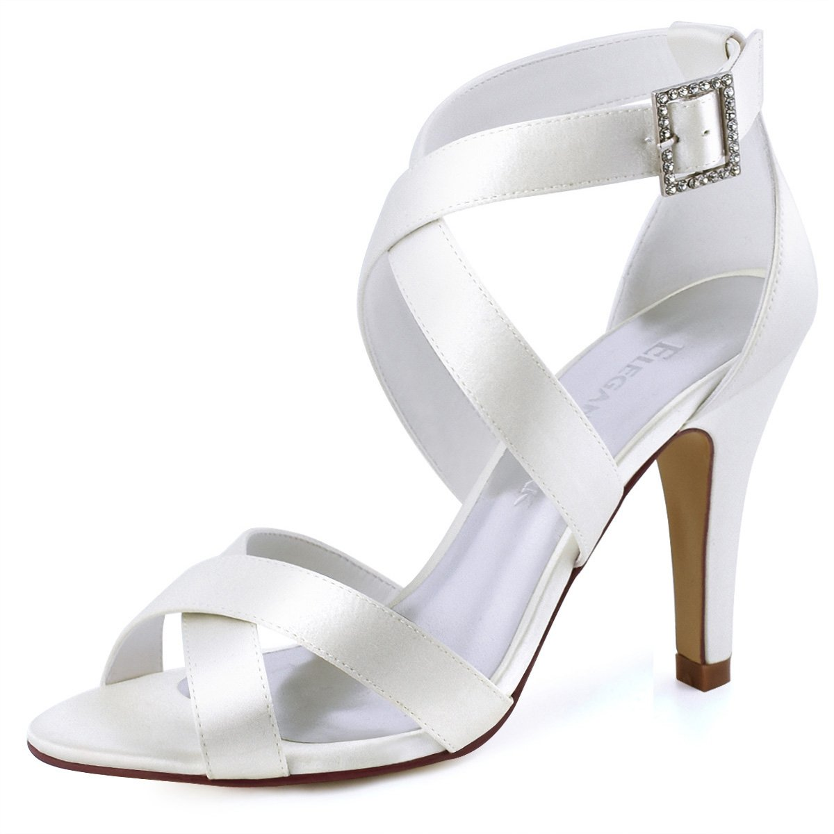 ElegantPark HP1705 Women High Heel Shoes Open Toe Cross Strap Satin Bridal Wedding Sandals Ivory US 7
