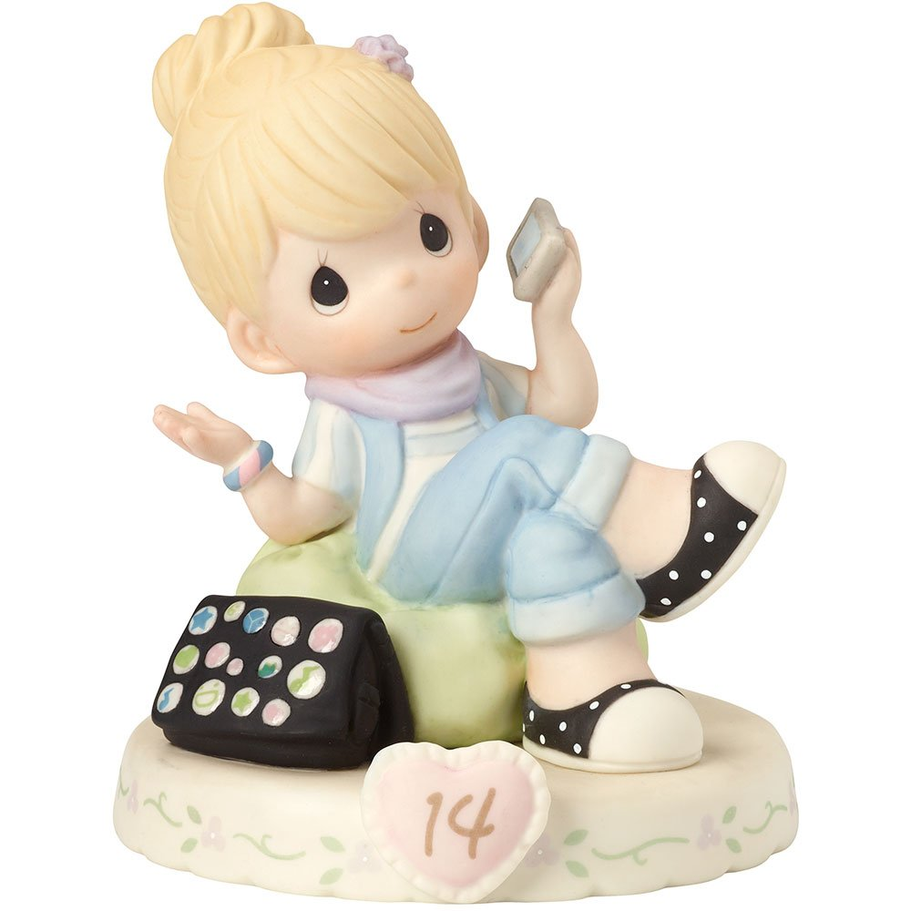 Precious Moments 162013  Growing In Grace, Age 14, Bisque Porcelain Figurine, Blonde Girl