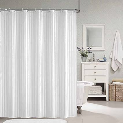 Selaurel White Striped Shower Curtain Thick Polyester Fabric Waterproof Mildew Resistant Bathroom Liner Kid