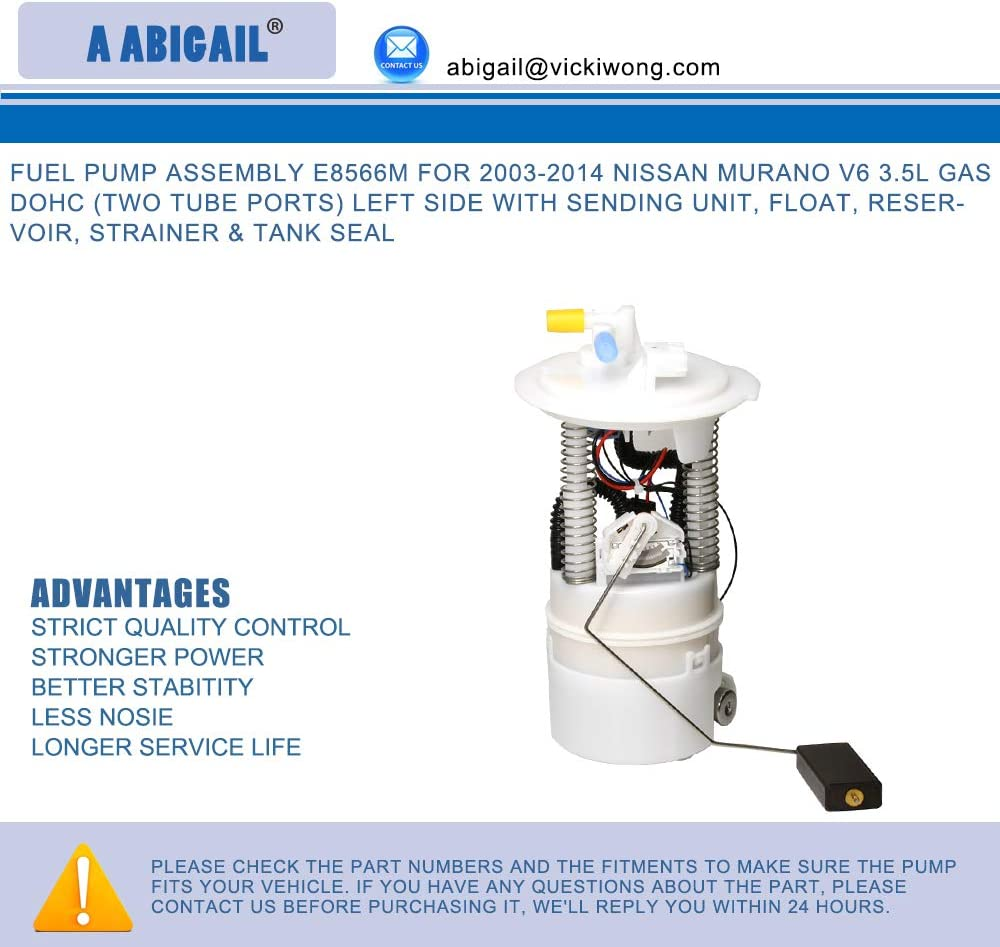 Electric Fuel Pump E8536M For 2003-2014 Nissan Murano V6 3.5L GAS DOHC Left Side Two Tube Ports