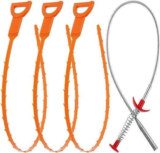 Vastar Lot de 5/vidange Serpent Cheveux Bouche d/évacuation Remover Outil de nettoyage