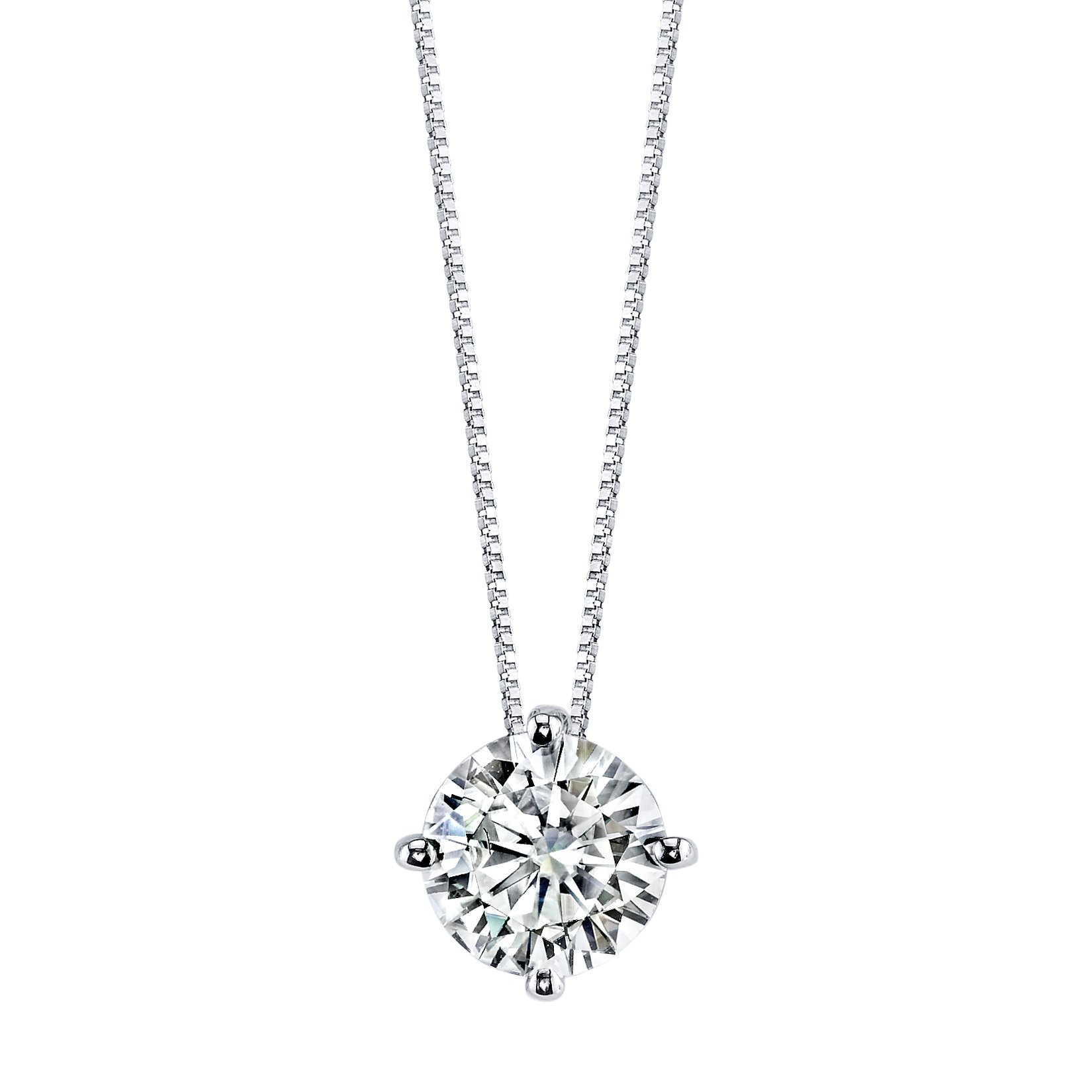 Round Brilliant Cut 7.5mm Moissanite Pendant Necklace, 1.50ct DEW By Charles & Colvard
