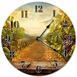 Sugar Vine Art 10.5 Grape Vineyards Road Clock - Large 10.5 Wall Clock - Home Décor Clock