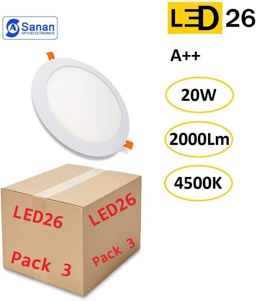 Pack de 3 Paneles LED Downlight Redondo Plano 20W Blanco De Empotrar 220mm Luz Blanca Cálida 4500K: Amazon.es: Iluminación