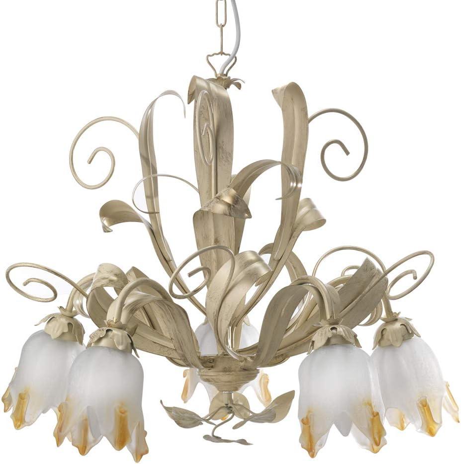 dormir con pies de lámpara de metal Marfil Cepillado Oro con cristales blancos A Flor