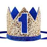 Maticr Glitter Baby Boy Girl First Birthday Crown Number 1 Headband Little Prince Princess Cake Smash Photo Prop (Gold & Royal 1)