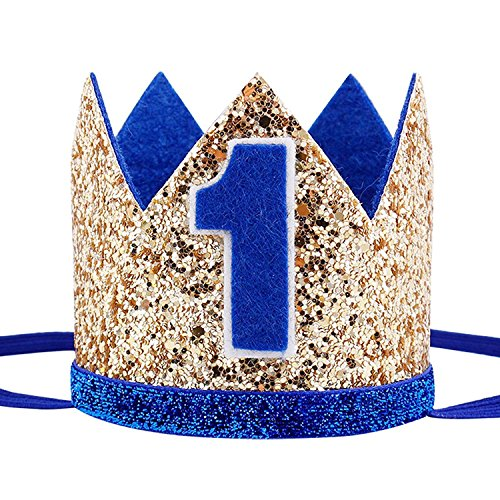 Maticr Glitter Baby Boy Girl First Birthday Crown Number 1 Headband Little Prince Princess Cake Smash Photo Prop (Tiny Gold & Royal 1) ()