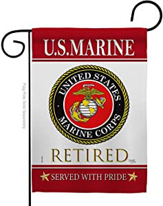 US Marine Retired Garden Flag Armed Forces USMC Semper Fi United State American Military Veteran Retire Official Small Decorative Gift Yard House Banner Double-Sided Made In USA 13 X 18.5
