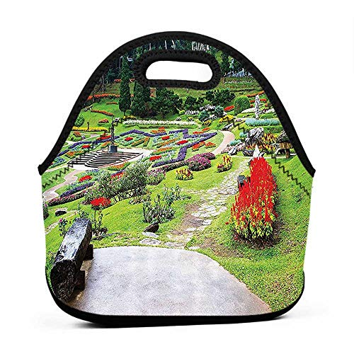 Large Size Reusable Lunch Handbag Country Home Decor Collection,Bromeliad at Mae Fah Luang Garden Lawn Flower Beds Evergreens Wooden Seat Image,Lilac Red Green,hunting lunch bag for men from OUTDRART