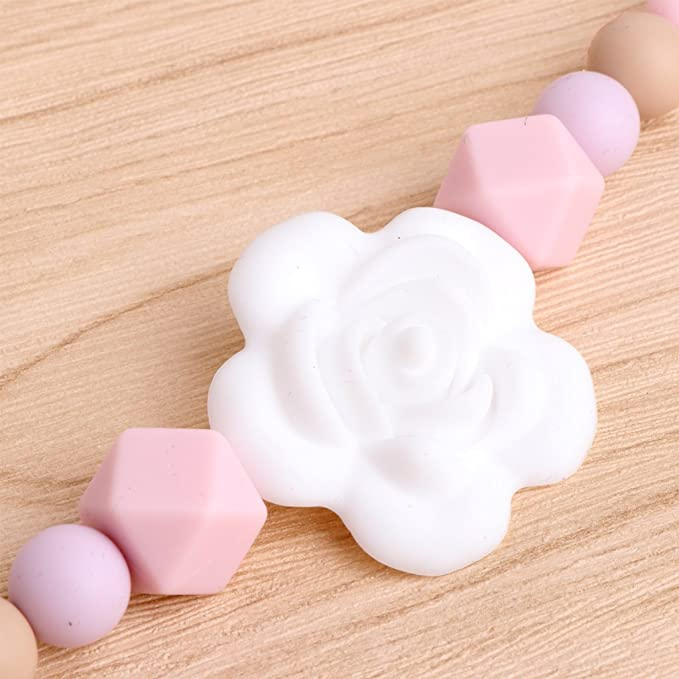 Cute Wooden Soother Silicone Holder For Baby Chew Pacifier Clip Teething Dummy#