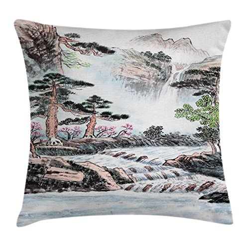 Lunarable Art Throw Pillow Cushion Cover, Mountain And River Painting Effect Pine Trees Floral Design Pencil Drawing Print, Decorative Square Accent Pillow Case, 36 X 36 Inches, Misty Rose Green (Pillow Designs Mountain Pine)