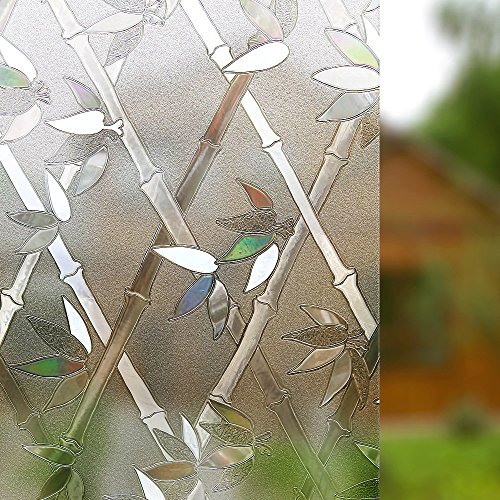 Rabbitgoo Privacy Window Film Frosted Film Decorative Window Cling Anti-UV Glass Films Non-Adhesive Bamboo Films for Living Room Bedroom Kitchen Lobby Porch Office 35.4In. by 78.7In. (Design View Bamboo Shades)
