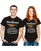 """T-shirt humoristique avec inscription en allemand """"meine bikergesetze noir"""