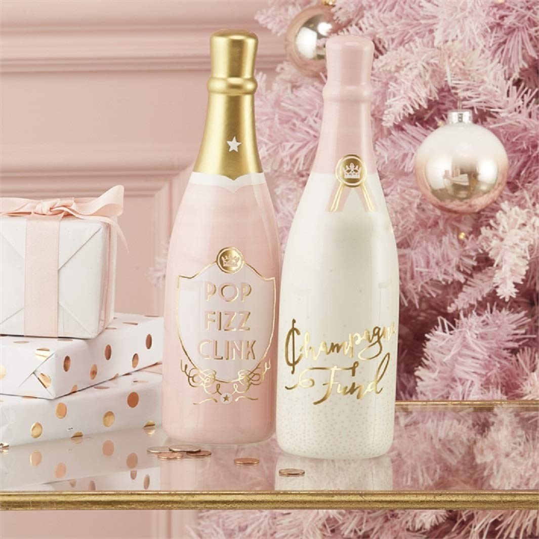 Champagne Bottle Money Bank in Pink, White and Gold (Gift Set of 2)