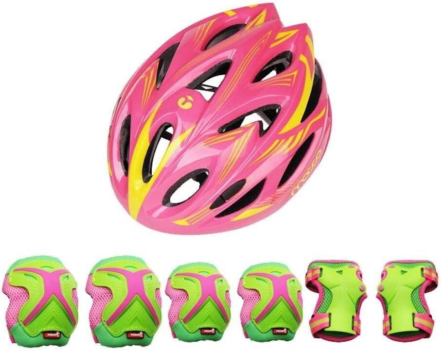 サイクルヘルメット、キッズ5-8のためにヘルメット、ローラーブレード、スクーター、自転車、ローラーブレード子供の誕生日のプレゼントにアウトドアスポーツの保護具安全パッドセット[ヘルメット膝肘手首]  Large