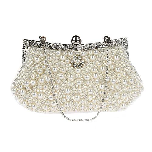 ad18e78e9a KAXIDY Borsa Pochette Borsa Sacchetto Cerimonia Perline Perle Donne  Eleganti Pochette Sera Spalla (Bianco)