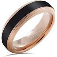 LerchPhi Wedding Band Ring 6mm for Men Women Black Tungsten Carbide Ring Matte Satin Finish 18K Rose Gold Plated Stepped Edge Free Personalized Engrave Supported Comfort Fit