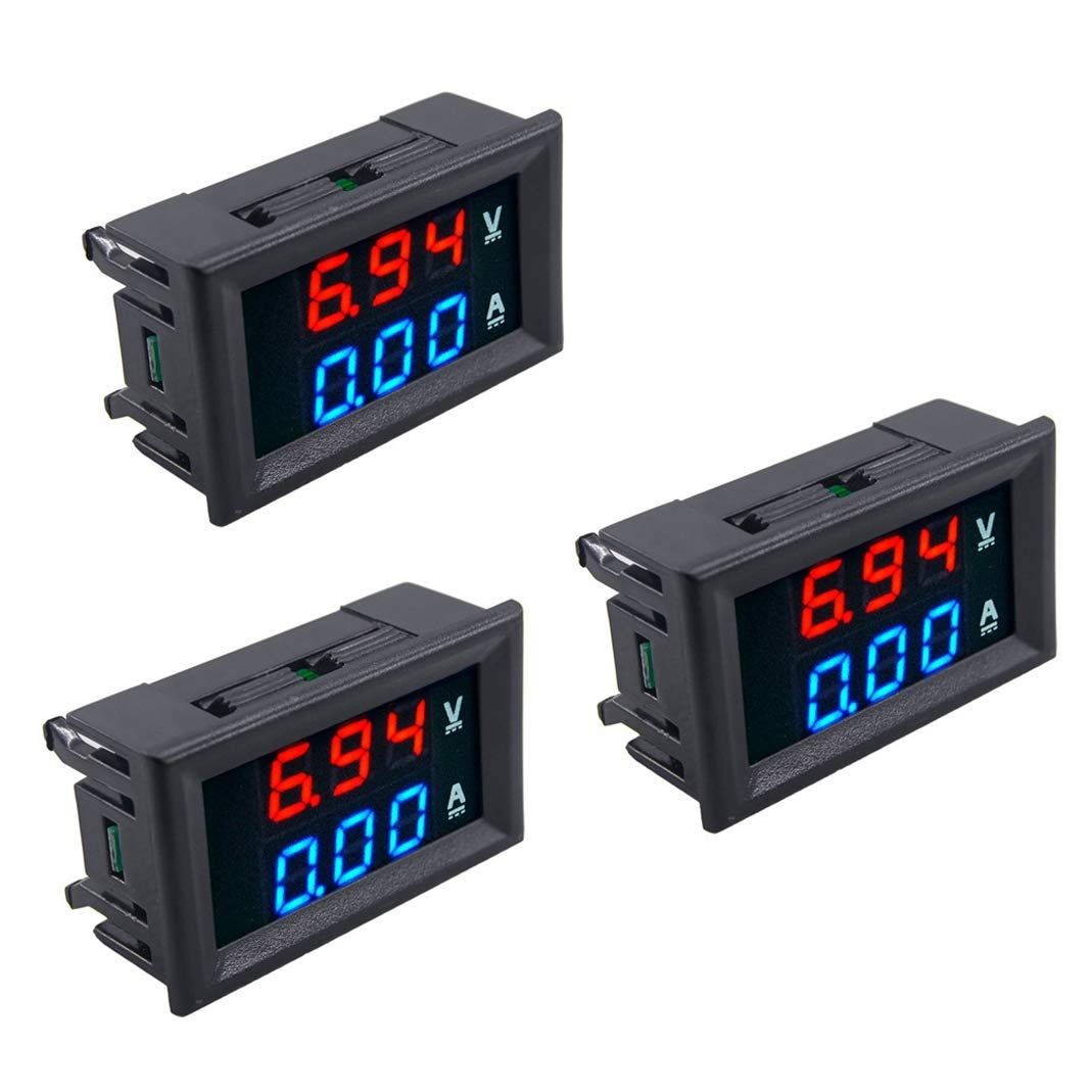 SODIAL 3pcs LED Digital DC 0-100V 10A Voltage Amp Volt Meter Panel Dual Voltmeter Ammeter Tester