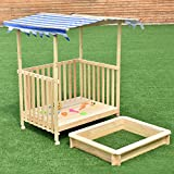 Kids Beach Cabana Sandbox Retractable Playhouse with Canopy - By Choice Products