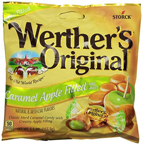 WERTHER'S ORIGINAL Caramel Apple Filled Hard Candies, 5.5 Ounce Bag (Pack of 6), Hard Candy, Bulk Candy, Individually Wrapped Candy Caramels, Caramel Candy Sweets, Bag of Candy, Hard Candy -