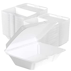 Stock Your Home 9 x 6 Clamshell Styrofoam Containers (25 Count) - 1 Compartment Food Containers - Large Carry Out Food Containers - Insulated Clamshell Take Containers for Delivery, Restaurants