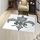 Fleur De Lis Rugs for Bedroom Grungy Lily Retro Renaissance Spirit Element Victory Holy Artwork Print Circle Rugs for Living Room 40''x55'' Blue White Black