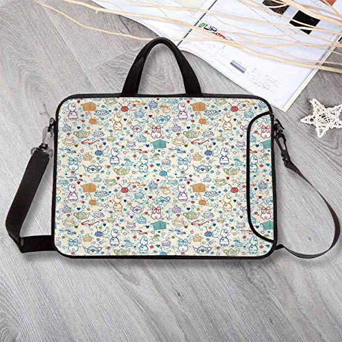 - Tea Party Stylish Neoprene Laptop Bag,Pattern with Cute Pastime Things Baby Bunny Tea Glasses Balls of Yarn and Needles Laptop Bag for Business Casual or School,14.6
