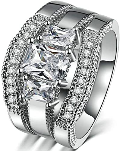 Jude Jewelers Three Pieces Princess Cut Chunky Style Wedding Engagement Promise Statement Ring Set