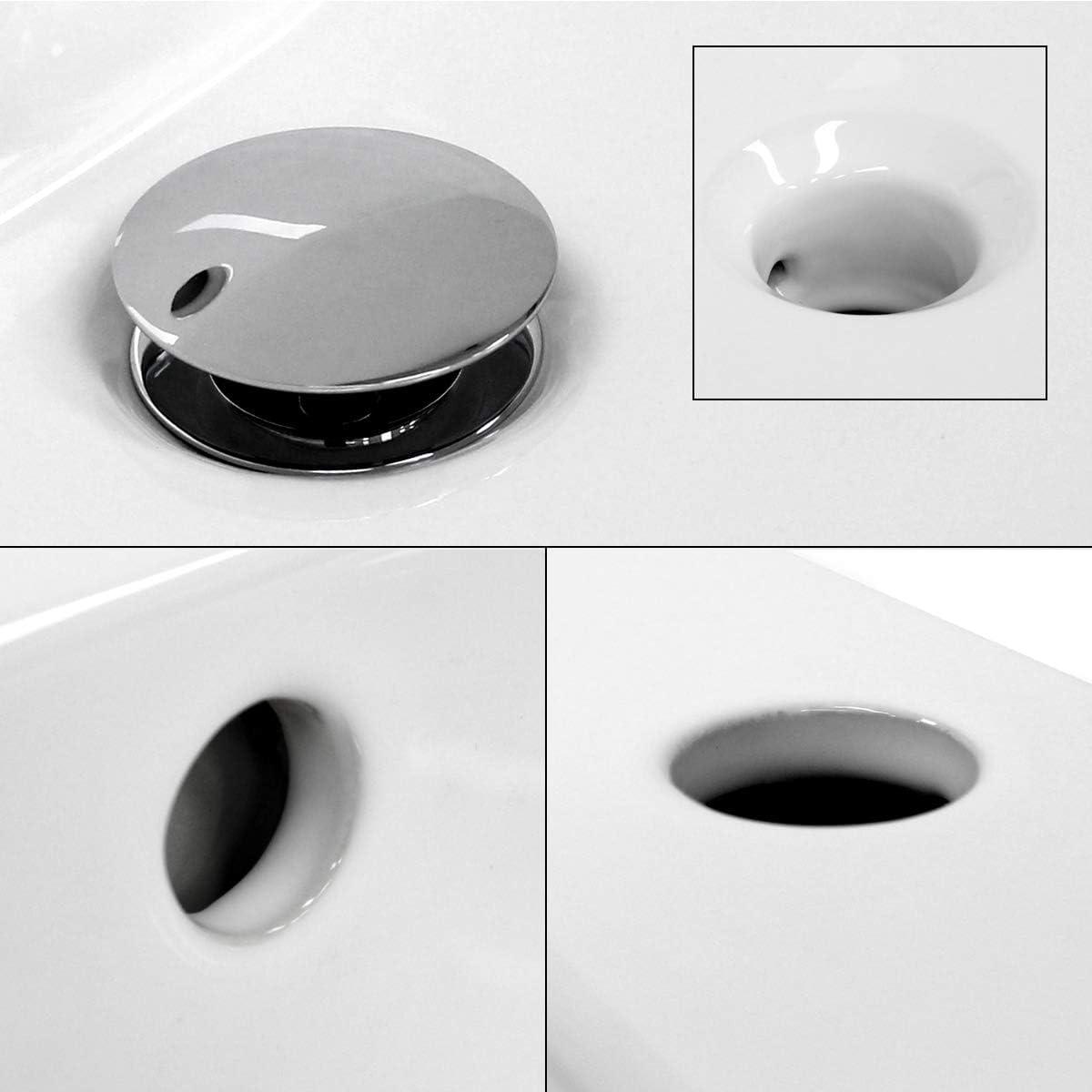 ECD Germany Lavabo encastrable cer/ámica con Agujero Grifo Blanco dise/ño Moderno 610 x 465 x 175 mm Pila con desbordamiento desag/üe para el Cuarto de ba/ño Aseo lavamanos sobre encimera