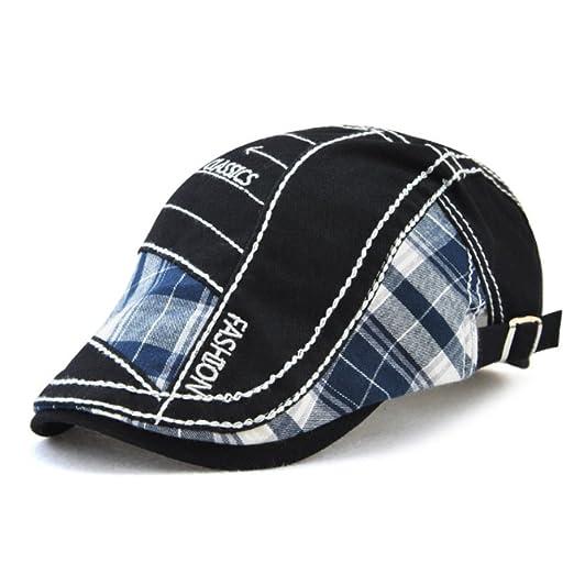 HSRT Men Cotton Washed Beret Hat Buckle Adjustable Paper Boy Newsboy Cabbie  CapBlack    9cade235be0f