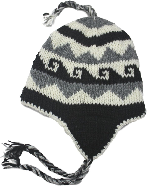 Peruvian Wool Beanie Handmade Women/'s Black and Gray Beanie Black Tassel Beanie