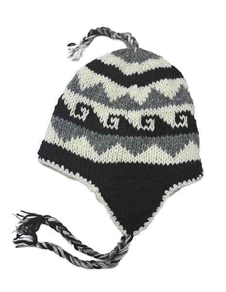 Amazon.com  Hand Knit Unisex WOOL Beanie Hat Ear Flap Fleece Lined ... 43c7a47d3c6