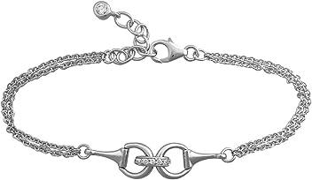 Silver Snaffle Bit Bracelet. Quality Equestrian Jewellery. Sterling Silver with CZ Diamonds. TPYWs