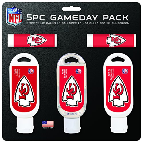 (Worthy Promo NFL Kansas City Chiefs Game Day 5-Pack with 2 Lip Balms, 1 Hand Lotion, 1 Hand Sanitizer, 1 SPF 30 Sport Sunscreen)