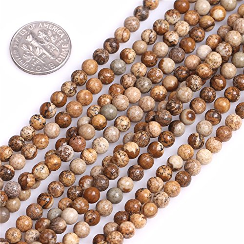 4mm Round Picture Jasper Beads Strand 15 Inch Jewelry Making Beads -
