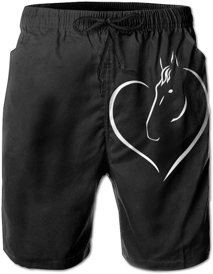 Horse with Heart Mens Printing Boardshorts Dry Fit Beachwear with Pockets